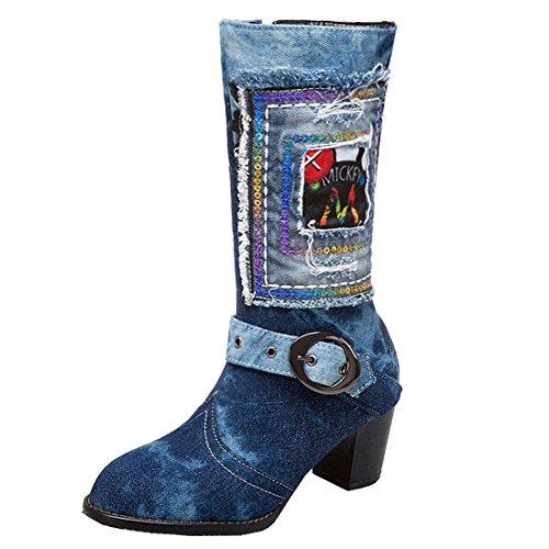 90122a88059c20 YE Damen Blockabsatz Kurzschaft Stiefel Jeans Damen Denim Boots mit  Reißverschluss Retro Herbst Winter Schuhe(