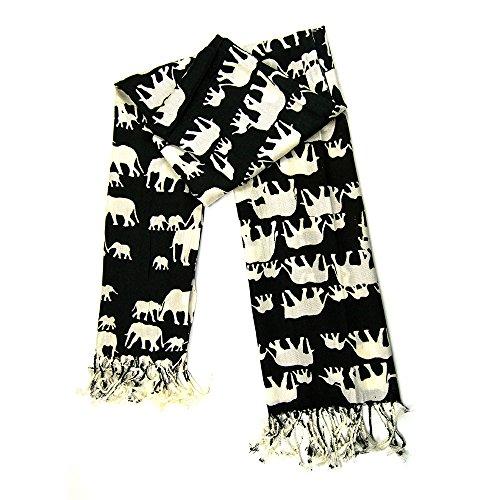 MANUMAR Schal für Damen | feines Hals-Tuch in schwarz mit Elefanten-Motiv als perfektes Herbst Winter Accessoire | Klassischer Damen-Schal | Stola | Mode-Schal | Das ideale Geschenk für Frauen