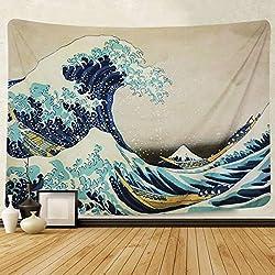 "Tapiz ""La gran ola"" de Hokusai"