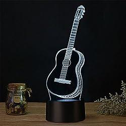 Lámpara 3D Ilusión Óptica de Guitarra USB 7 Colores LED Luz Nocturna Para Decoración de Casa
