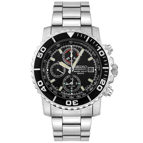 Seiko Herren-Armbanduhr XL Chronograph Edelstahl beschichtet SNA225P1