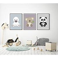 Prints 3er Set Format A3 Bärenbande Koala Panda Eisbär Bild Kinderzimmer Wanddeko ohne Rahmen