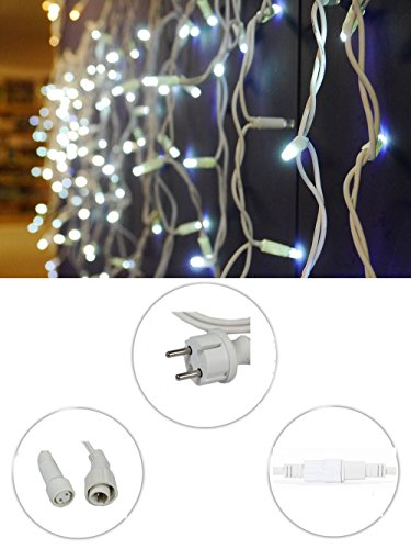 Vetrineinrete® Tenda luminosa di natale 63 led 2 metri prolungabile luce bianca impermeabile luci natalizie per esterno fili sfalsati bianchi addobbi e decorazioni natalizi P38