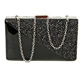 LeahWard Womens Hard Case Clutch Evening Party Prom Bags Handbags For Wedding Dinner Party Bridal (Black 02)