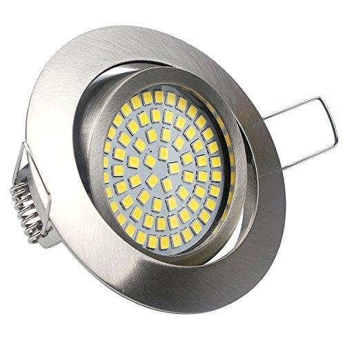 Flach LED Einbaustrahler, Neutralweiss 4000K, 3.5W 350lm 230V Edelstahl Optik Schwenkbar,LED Einbauspots, LED Einbauleuchten,LED Deckenspot, LED Deckenstrahler,20mm Einbautiefe Drehbar