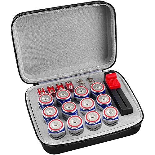 Batterie Organizer Aufbewahrungsbox mit Batterietester (BT168), Tasche Halter passt für V D Lithium 3V (ohne Batterien)
