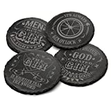 4 x Steinschiefer Untersetzer / Stone Slate Coaster - The Gin Collective - G&T