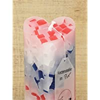 Handgefertigte Kerze in Herzform mit bunten Wachswürfeln, B: 7cm H: 21cm