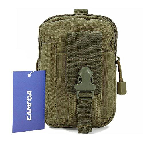 CAMTOA Leicht klein Tactical Hip Bag Hüfttasche Beintasche,Mode Multifunktional Handytasche für Camping Wandern Outdoor Armee grün (Flex-gürtel, Arme)