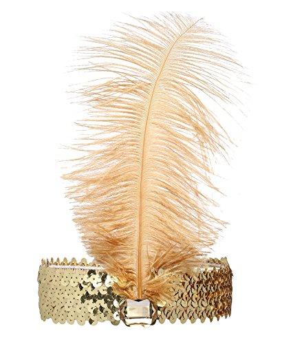 Showgirl Jahre Kostüm 20er (Babeyond® 1920s Stil Stirnband mit goldener Feder Inspiriert von Der Große Gatsby Accessoires für Damen Freie)