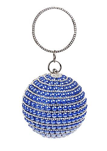 0d290936dc632 Santimon Clutches Für Damen Strass Bunten Perlen Geldbeutel Runde Handtasche  Für Partei Abschlussball Blau