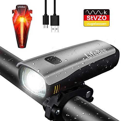 LIFEBEE Fahrradlichter Set, LED Fahrradbeleuchtung StVZO Zugelassen USB Wiederaufladbare 300 Lumen Wasserdicht Samsung Li-ion Fahrradlampe Frontlicht/Rücklicht für Radfahren