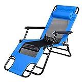 Buyi-World Liegestuhl Klappstuhl mit Liegefunktion und Kopfpolster Sonnenliege Strandliege klappbar für Camping Freizeit Garten Angeln Tragfähigkeit bis 200kg Blau, Rot