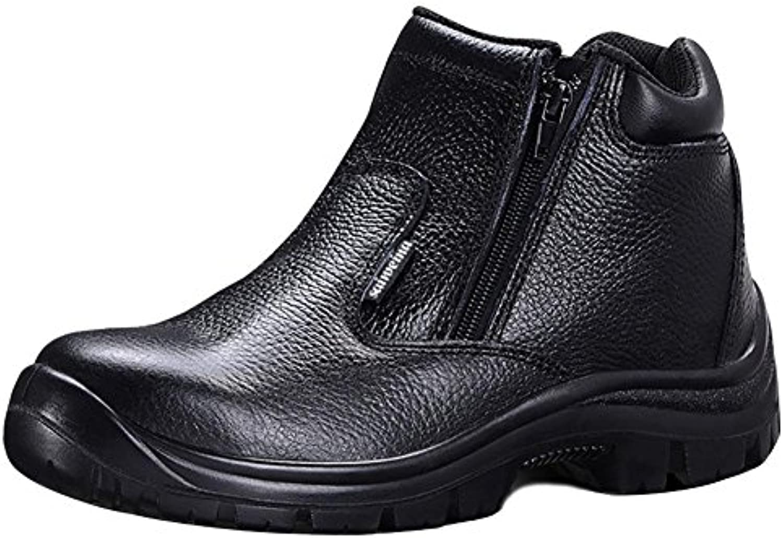 SYYAN Hombres Cuero Antideslizante Anti-Smashing Anti-puntura Baotou de acero Top alto Trabajo Zapatos Negro ,...