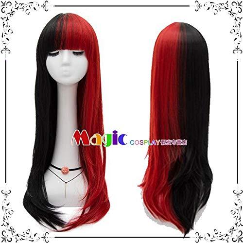 Perücken täglich schwarz Pulver grau Weißgold rot doppelt lange glatte Haare Hali Kuiyin Clown Frau Cos Perücke, schwarz rot Doppel Zauber LW1675, eine Größe