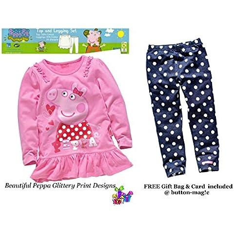 Peppa Pig niñas 'rosa Túnica/Superior y polaina * A partir de 18–24meses Pink White Blue 18-24