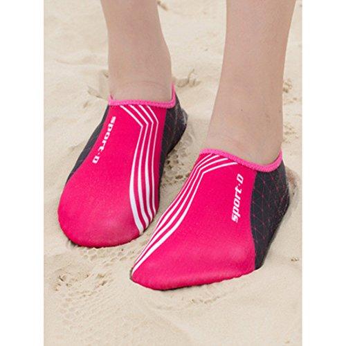 DorkasDE Unisex Strandschuhe Aquaschuhe Aqua Schuhe Atmungsaktiv Schwimmschuhe Surfschuhe Wasserschuhe Badeschuhe für Damen Herren Kinder Rose