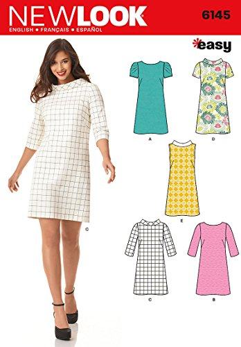 Simplicity New Look Sewing Pattern 6145: Misses' Dresses, Size A(8-10-12-14-16-18)