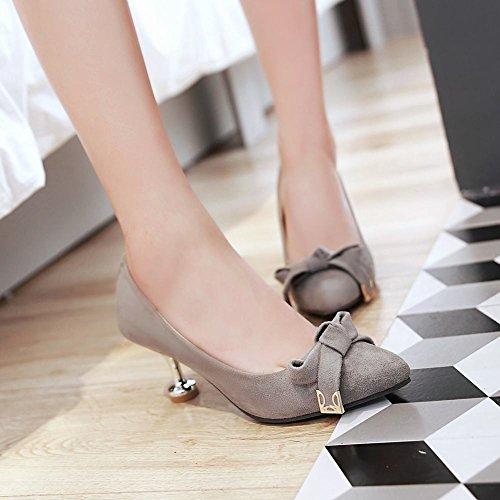 Mee Shoes Damen Stiletto Nubukleder Schleife Pumps Grau