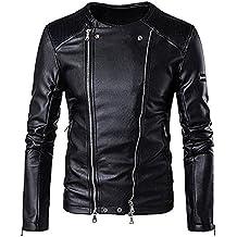 BBring Herren PU Lederjacke, Mode Herbst & Winter Stehkragen BikerJacket Motorradjacke Reißverschluss Outwear Warm Mantel