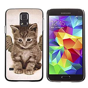 VORTEX ACCESSORY Hard Protective Case Skin Cover - angel kitten wings cute house cat pet - Samsung Galaxy S5 SM-G9000