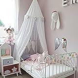 Tyhbelle Baby Baldachin Betthimmel Kinder Babys Bett Baumwolle Hängende Moskiton für Schlafzimmer Ankleidezimmer Spiel Lesen Zeit Höhe 240 cm Saumlänge 270cm (Weiss(mit Ball Baldachin))