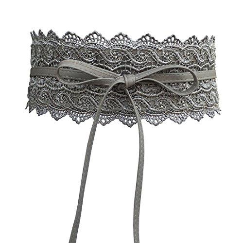 NRTSS Cordón del cordón de las mujeres pajarita alrededor de la cintura de Obi Band Cincher Boho cuero suave de la PU para los vestidos