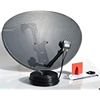 SSL Satellites 80CM Zone 2 Freesat HDR Satellite Dish DIY Self Installation Kit,Latest Dish with Quad LNB,50 Meter Twin Black coax Cable all necessary Brackets,Bolts and SATELLITE FINDER