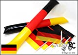 6x Deutschland-Fahne + 2x Klatsche | WM 2018 | Stockfahne | Fan-Set | Kinder-Fahne BRD | Clappers | Deutschland-Flagge | deutsche Marke molinoRC
