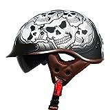 Harleeyr Chopper Bike Style Moycle Helm T55 Series Neuheit Safety Motorrad Helm mit Inneren Sonnenbrillen Black Angel XXL