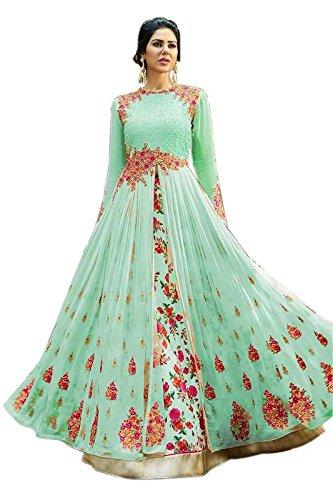 Aryan Fashion Women Georgette Bollywood Designer Semi-Stitched Salwar Suit (mBGDVW11052_Green_Free Size)