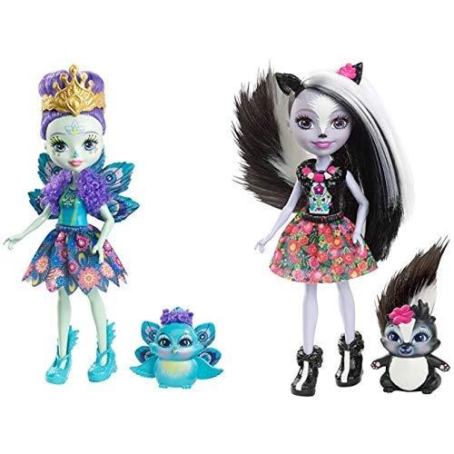 Enchantimals Mattel DYC76 - Pfauenmädchen Patter Peacock, Puppe &  Mattel DYC75 - Stinktiermädchen Sage Skunk, Puppe