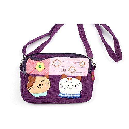 Kleine Umhängetasche Kosmetiktasche für Kinder mit Katzen-Aufnäher und Blumen (lila) lila