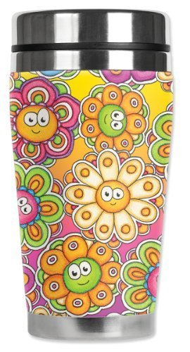 Mugzie Groovy Daisies Travel Mug with Insulated Wetsuit Cover, 16 oz, Multicolor by Mugzie