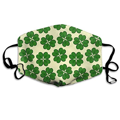WBinHua Masken für Erwachsene, Mask Face, Mouth Mask, Breathable Mask Anti Dust, Unisex St. Patrick's Day Lucky Four-Leaf Clover Printed Cotton Mouth-Masks Face Mask Polyester Anti-dust Masks -
