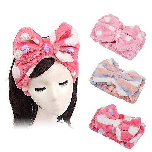 e-up Stirnband Superweiches Kosmetik Haarband Haarreif aus Flanell für Spa Gesichtsreinigung Gesichtspflege (Punktmuster + Herz + Streifen) ()