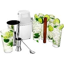 Mojito Cocktail Kit by bar@Drinkstuff | Cocktail Set - 6x Arc Islande Hiball Gläser, Professionelle Boston Cocktail Shaker aus Zinn & Glass, Heim-Eiscrusher, Jigger / Fingerhut-Messbecher, Muddler & Cocktail Rührlöffel mit gedrehtem Griff | Set zur Cocktailherstellung, Geschenk-Set