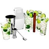 Mojito Cocktail Kit by bar@Drinkstuff | Cocktail Set - 6x Arc Islande Hiball Gläser, Professionelle Boston Cocktail Shaker aus Zinn & Glass, Heim-Eiscrusher, Jigger / Fingerhut-Messbecher, Muddler & Cocktail Rührlöffel mit gedrehtem Griff | Set zur Cocktailherstellung, Geschenk-Set