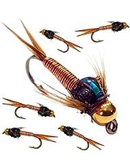 6X Pêche à la Truite mouches Doré à tête Nymphes Tête dorée X 6x Cuivre Johns (fabriqué par Nos Apprentis) Crochet Taille 12