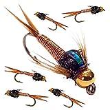 6x Forellenangeln Fliegen Gold Headed Nymphs 33J X 6X Kupfer Johns (Made by Anzubieten Haken Größe 12