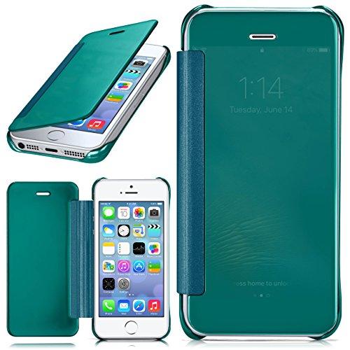 iPhone 5S Hülle Transparent TPU [OneFlow Void Cover] Dünne Schutzhülle Silber Handyhülle für iPhone 5/5S/SE Case Ultra-Slim Handy-Tasche mit Sicht-Fenster AQUA