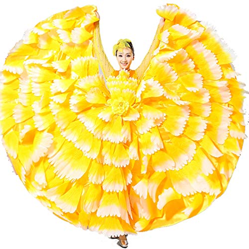 ZYLL Flamenco Rock Damen Bauch Tanzen Chiffon Rock Erwachsene Weiblich Kleid Performance Spanisch Stierkampf Tanzen Groß,720°,M - Chiffon-bauch-tanzen