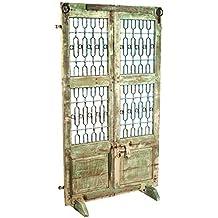 Biombo KAB puerta antigua de madera y forja color verde y blanco decapado con base desmontable