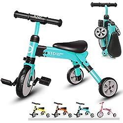 XJD Vélo Draisienne Tricycle pour Enfants de 2-4 Ans 2 en 1 Premier Vélo d'Entraînement d'Équilibre Véhicule avec Pédale Jouet Éducatif pour Filles Garçons Léger Pliable avec Sac De Rangement
