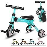 XJD Vélo Draisienne Tricycle pour Enfants 2 en 1 Premier Vélo d'Entraînement d'Équilibre Véhicule avec Pédale Jouet Éducatif pour Filles Garçons De 2-4 Ans Léger Pliable avec Sac De Rangement (Bleu)