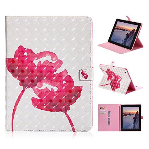 Leder Hülle für Apple iPad 4, Asnlove Premium PU Leder Schutzhülle Tasche Stand Cover Case mit Standfunktion und Auto Schlaf/Wach Funktion für Apple iPad 2/3/4 9,7 Zoll Tablet mit 3D Muster