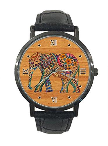 jkfgweeryhrt Armbanduhr, Holz, Elefant, Blumen-Zeichnung, Edelstahl, Leder, Analog, Quarz, Sport-Armbanduhr