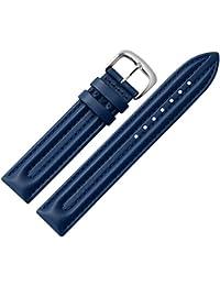 Correa de 18 mm - pulsera de cuero azul con costura resistente Doppelwulstpolsterung - correa de repuesto de piel para relojes - Reloj de Pulsera desde 1945 Marburger - / oro oscuro