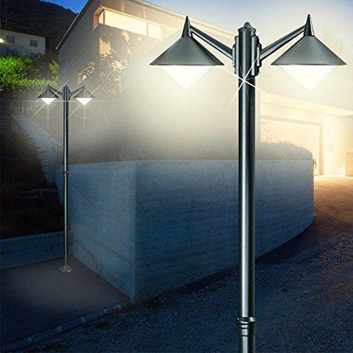 Kandelaber Leuchte ↥2200mm/ Modern/ Schwarz/ Alu/ AUSSEN Mast Strassen Lampe Aussenlampe Aussenleuchte Gartenlampe Gartenleuchte Mastlampe Mastleuchte Wegelampe Wegeleuchte (Kandelaber-leuchte)