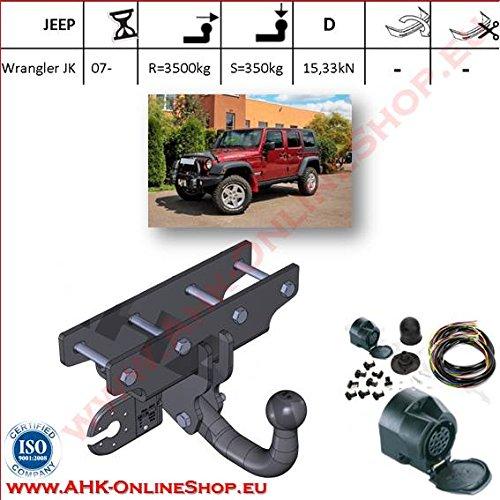 ATTELAGE avec faisceau 13 broches   Jeep Wrangler JK de 2007- / crochet «col de cygne» démontable avec outils